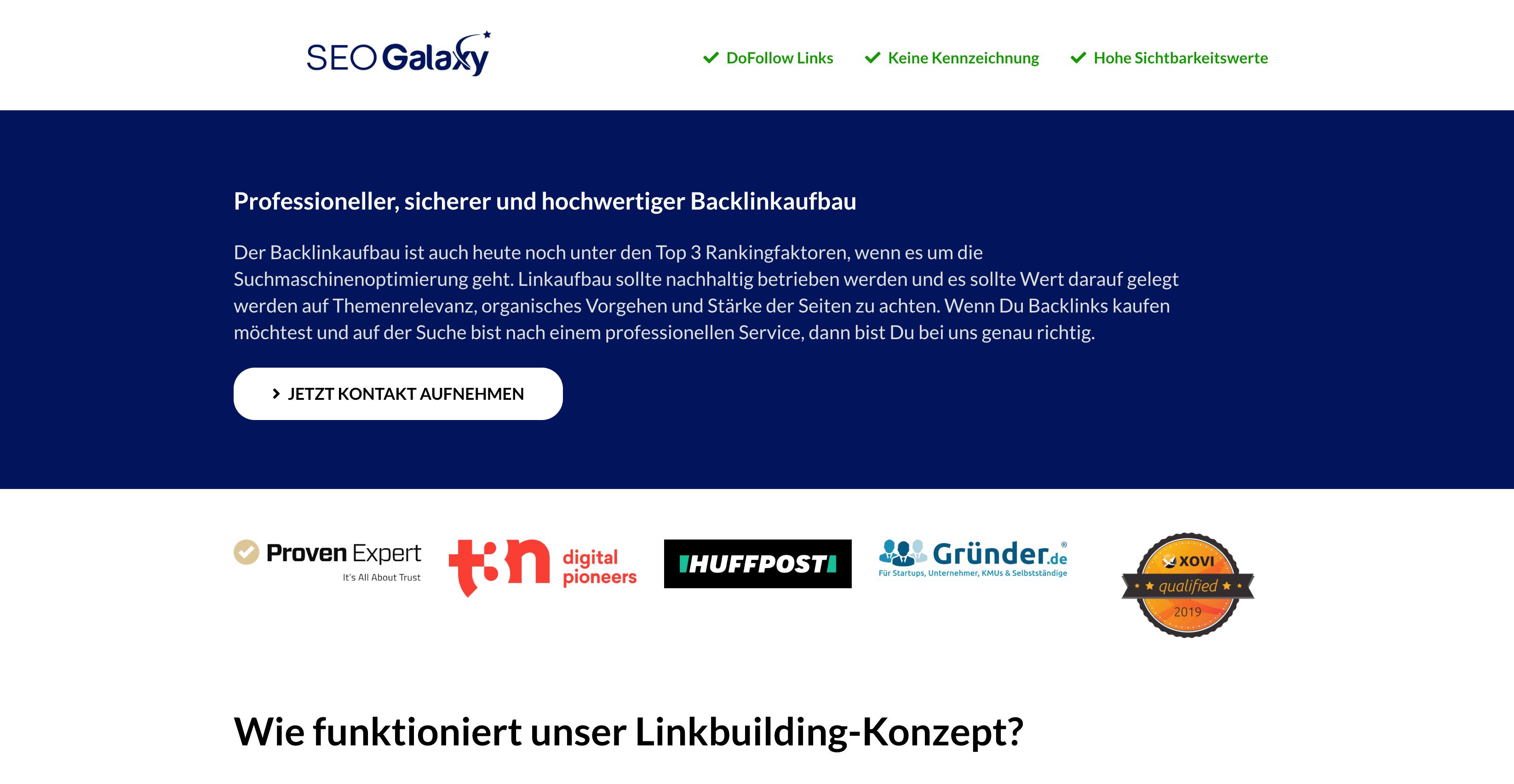 Landingpage Beispiel für Kontaktaufnahme (große Landingpage)