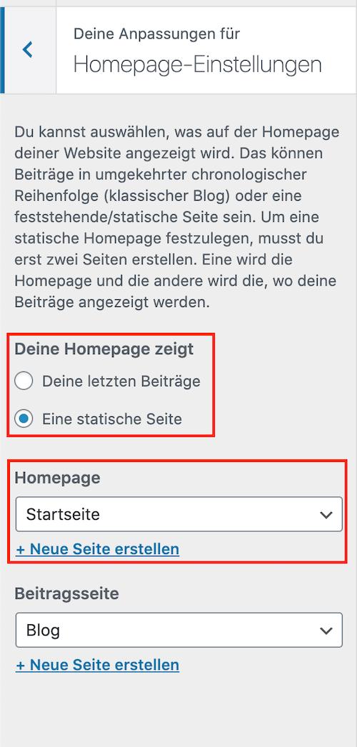 Statische WordPress Startseite festlegen