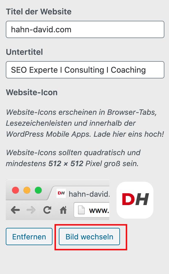 Website Icon hinzufügen