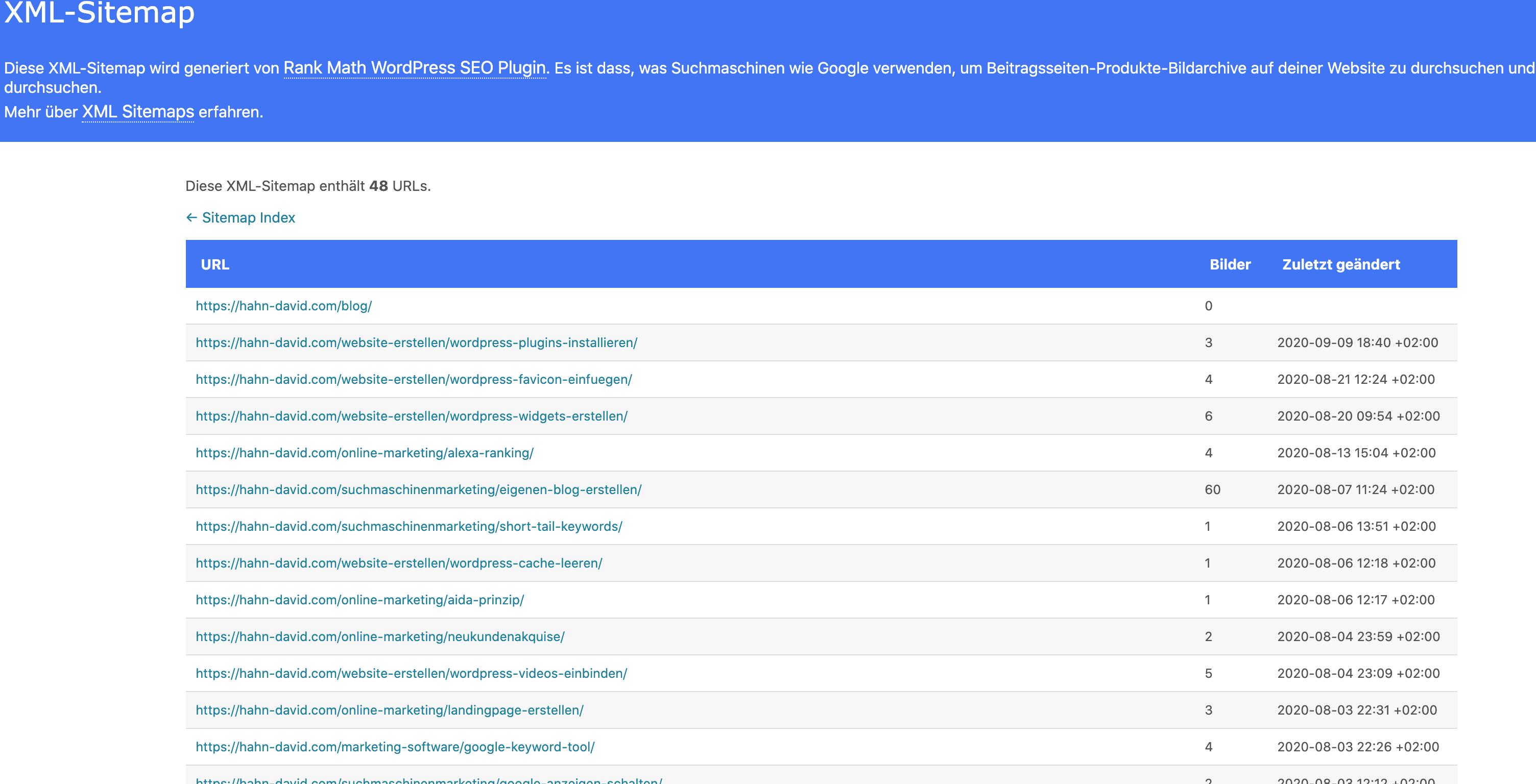 Wordpress Sitemap Beiträge