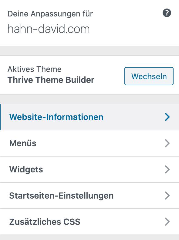 Wordpress Website-Informationen bearbeiten