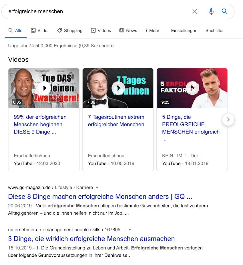 Google fördert YouTube Videos in den Suchergebnissen. Diese werden meist vor den reinen Textergebnissen angezeigt.