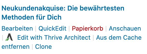 Wordpress Beitrag löschen