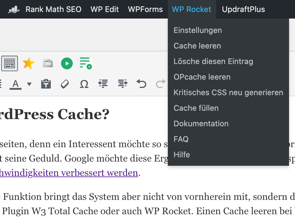 Wordpress Cache leeren mit WP Rocket