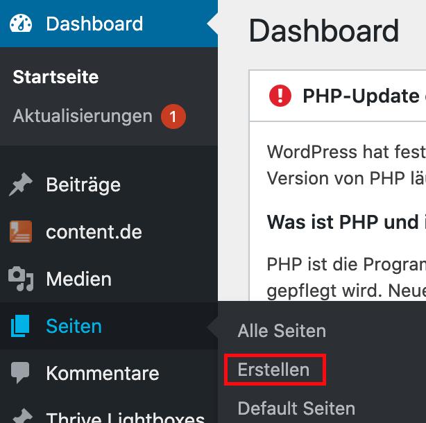 Wordpress Seite erstellen