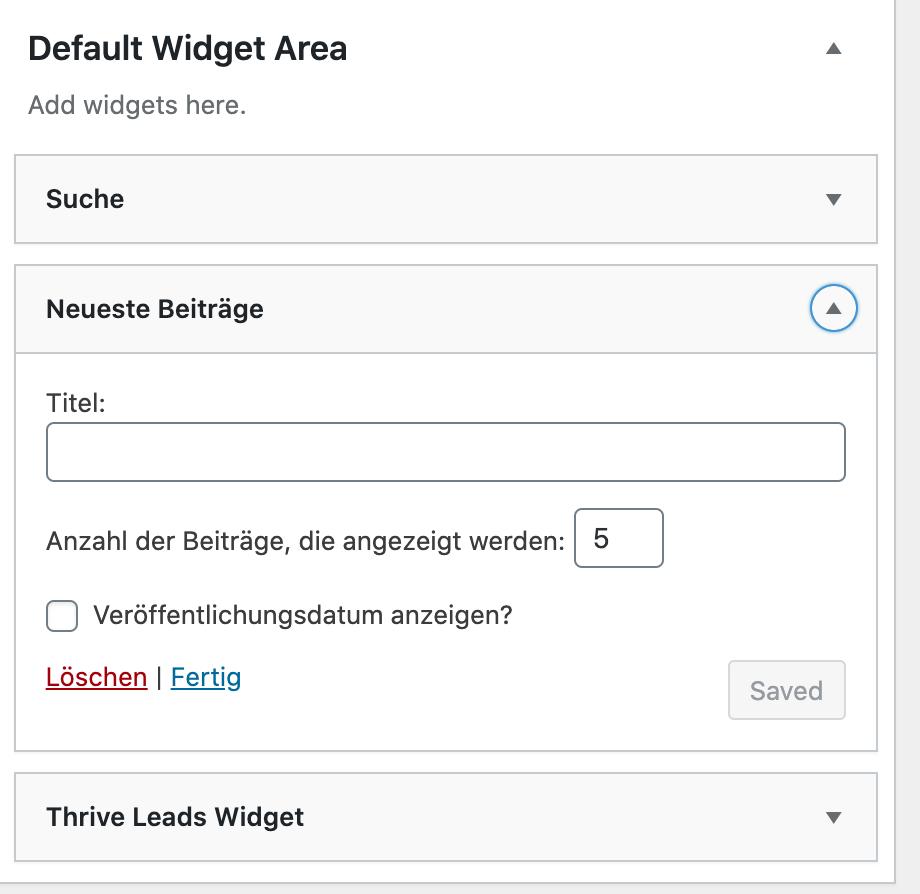 Wordpress Widget löschen