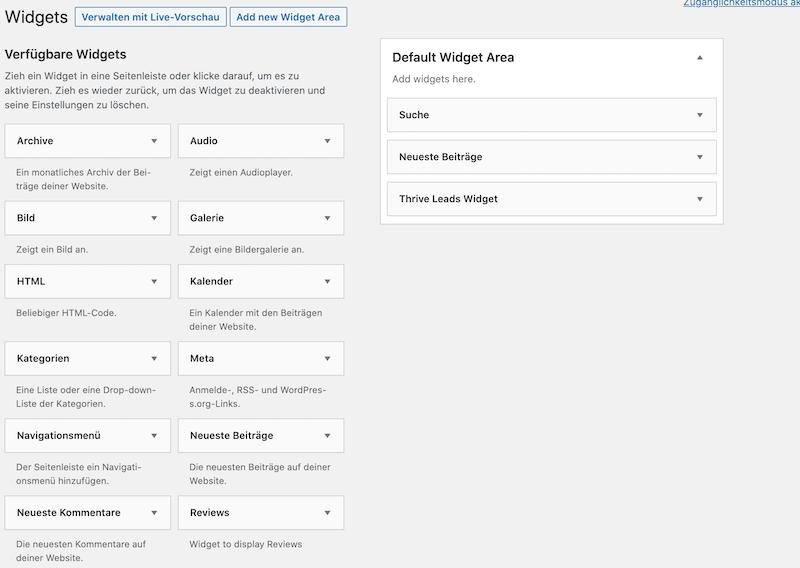 Wordpress Widgets hinzufügen
