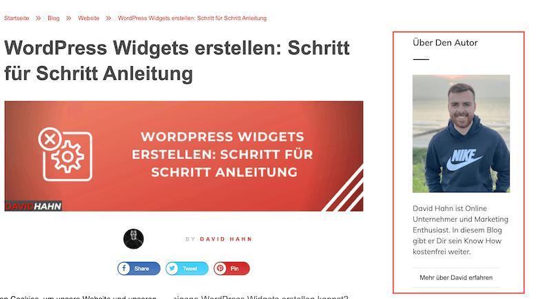 Wordpress Widget Beispiel