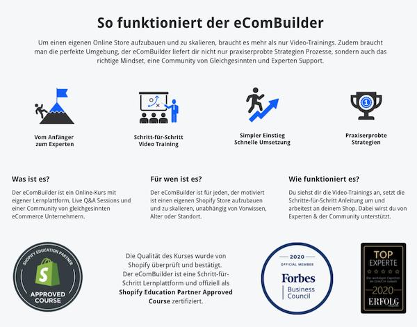 eComBuilder Funktionalität